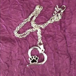 Silver heart and paw necklace